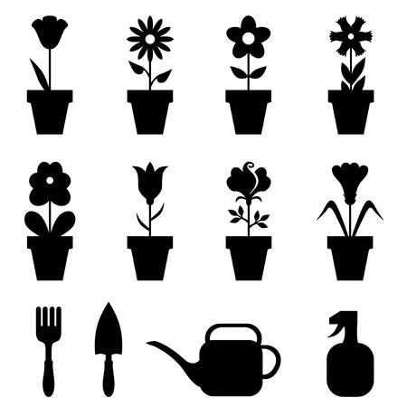 plant pot: Vector illustrations of set of flowers pot icons
