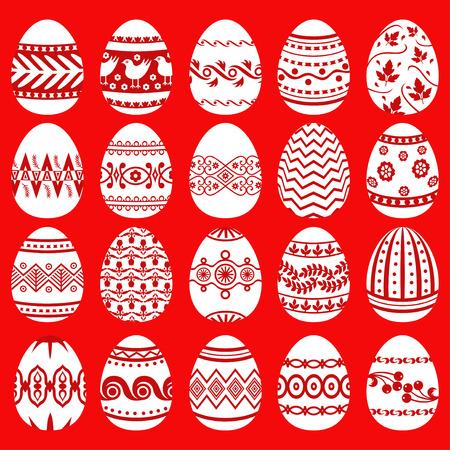 huevos de pascua: Ilustraciones de vectores de conjunto con dibujos huevos de Pascua sobre fondo rojo Vectores