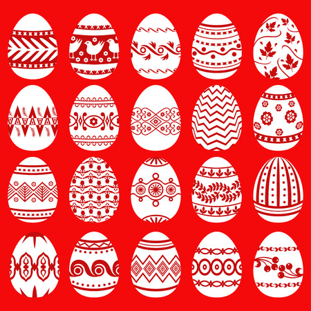 easter egg: Vector illustrations of set patterned Easter eggs on red background