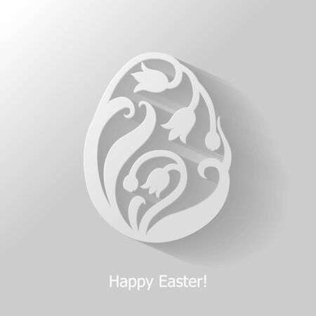 Vector illustrations of decorative floral Easter egg flat icon on gray background Иллюстрация