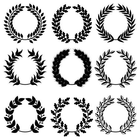 oak wreath: Vector illustrations of  triumph wreaths set