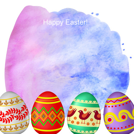 Vector illustrations of Easter greeting card with watercolor background and decorative eggs Vector