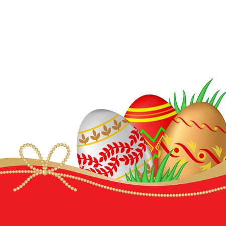 sweet grass: Vector illustrations of Greeting Easter card with decorative eggs and grass
