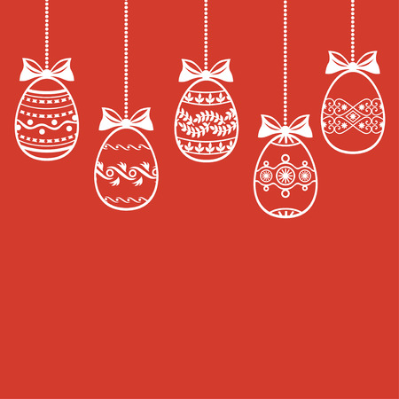 Vector illustrations of Easter card with hanging decorative egg on red background Vector