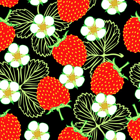 Vector illustrations of seamless pattern of wild strawberries, flowers and leaves Vector