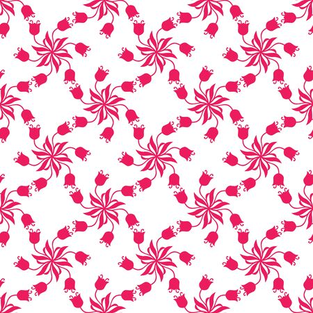Vector illustrations of  seamless pattern of beautiful pink tulips flowers Vector