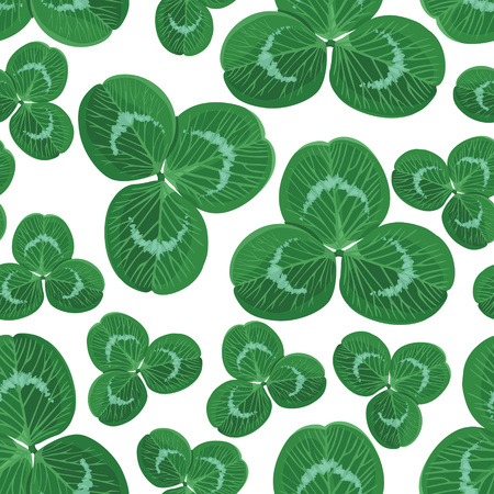 Vector illustrations of  seamless pattern with clover leaves Vector
