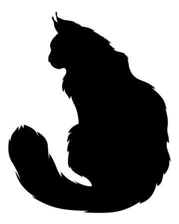 furry tail: Vector illustrations of silhouette of black furry cat Illustration