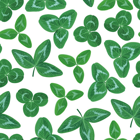 Vector illustrations of  seamless pattern of different clovers green leaves for St. Patricks Day design Vector