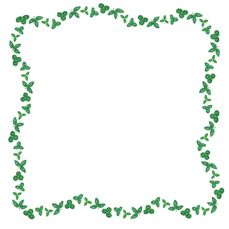 Vector illustrations of  St. Patricks Day border of clover green leaves Vector