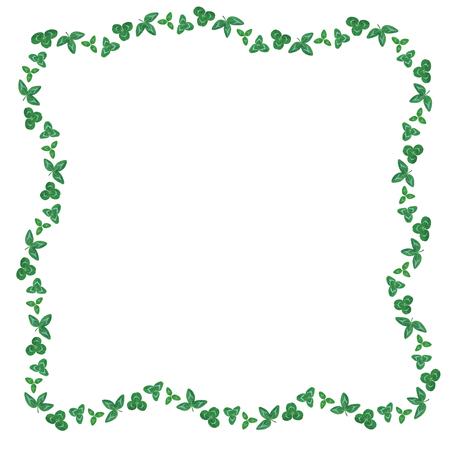 Vector illustrations of  St. Patricks Day border of clover green leaves Vector