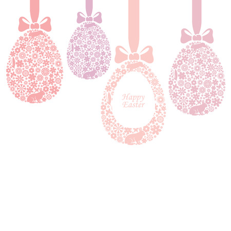 Vector illustrations of Easter card with hanging floral decorative egg Vector
