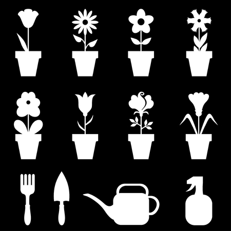 flower designs: Vector illustrations of negative set of flowers pot icons on black background