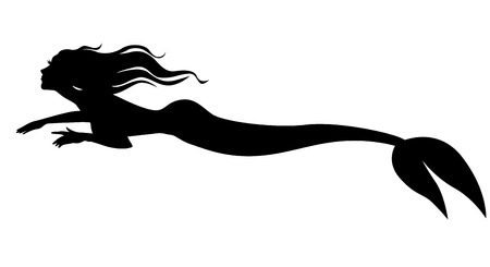Vector illustrations of silhouette mermaid swimming forward Иллюстрация