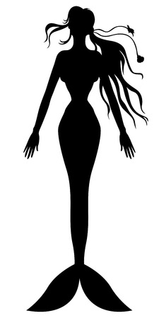 woman underwater: Vector illustrations of silhouette mermaid swimming up