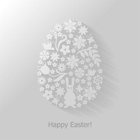 Vector illustrations of Easter card with floral decorative egg flat background Vector