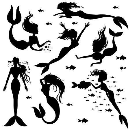 cola mujer: Ilustraciones de vectores de siluetas conjunto sirenas