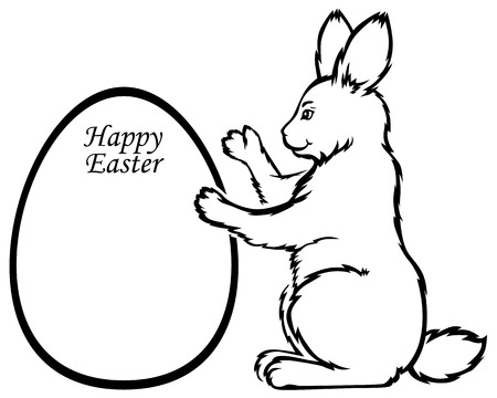 cartoons sweet: Vector illustrations of contour Easter rabbit holds greeting frame in form egg