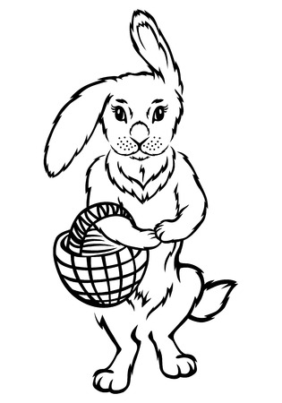 cartoons sweet: illustrations of contour Easter rabbit with basket
