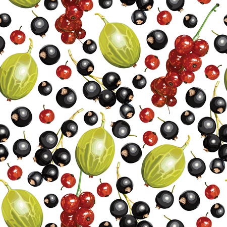 Vector illustrations of ripe blackcurrant, redcurrant and gooseberries pattern seamless