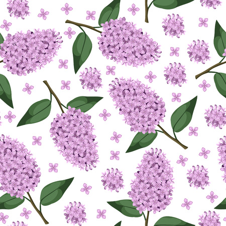 lilac: Vector illustrations of branch of lilac flowers with leaves pattern seamless