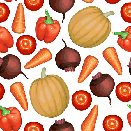 Vector illustrations of vegetables set pattern seamless Vector