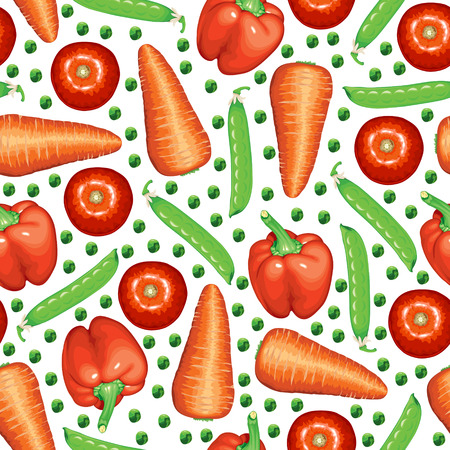 flavorful: Vector illustrations of vegetables: peas, carrots, peppers, tomatoes pattern seamless