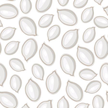 pumpkin seeds: Vector illustrations of white pumpkins seeds pattern seamless
