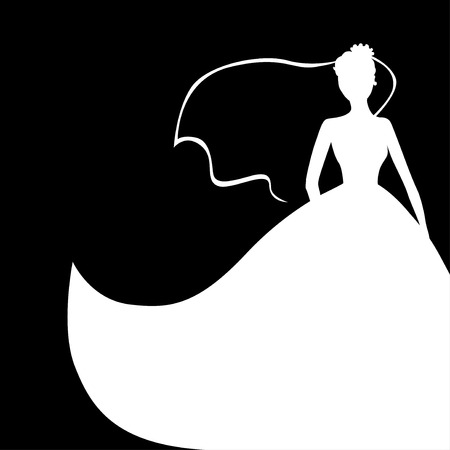 wedding dress silhouette: Vector illustrations of wedding bride silhouette