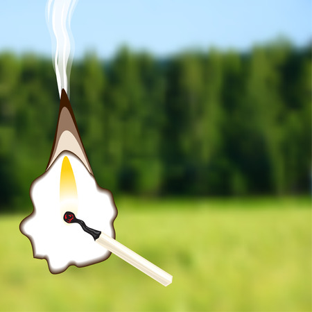 charred: Vector illustrations of burning match on a background of green forests and fields