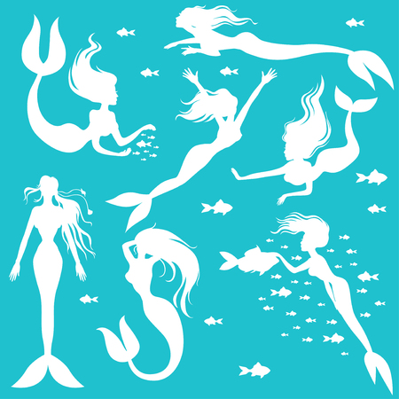 mermaid: Vector illustrations of set white silhouettes mermaids on turquoise background
