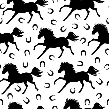 Vector illustrations of pattern seamless of galloping horses and horseshoes Иллюстрация