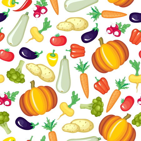 Vector illustrations of cartoon vegetables pattern seamless