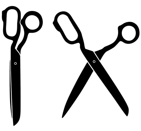 closing: Vector illustrations of silhouette of opening and closing tailors scissors