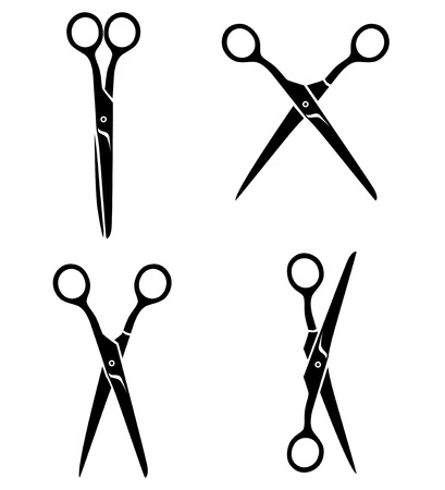 scissors icon: Vector illustrations of silhouette of set opening and closing average scissors