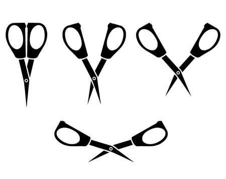 closing: Vector illustrations of silhouette set of opening and closing little nail scissors