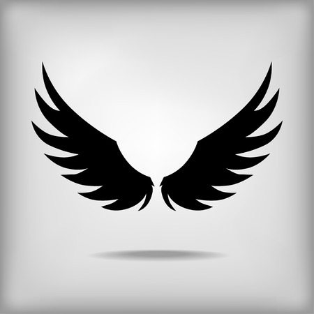 angelic: Vector contour wings black icon on gray background with shadow Illustration