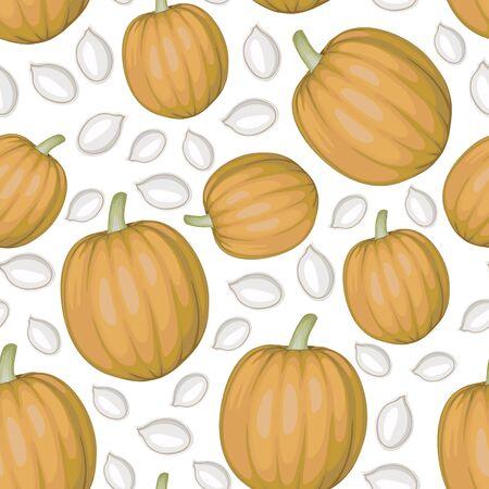 pumpkin seeds: Vector illustrations of white pumpkins seeds and pumpkins pattern seamless