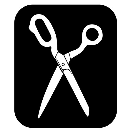 sartorial: Vector illustrations of icon silhouette of opening tailors scissors Illustration