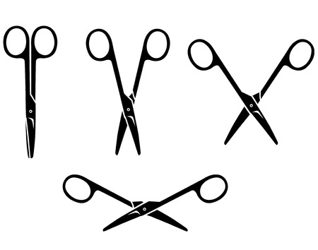 closing: Vector illustrations of silhouette of set opening and closing small scissors Illustration