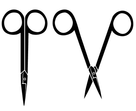 nail scissors: Vector illustrations of silhouette of opening and closing nail scissors
