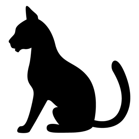 profile silhouette: Vector illustrations of silhouette of sitting black graceful cats in the profile Illustration