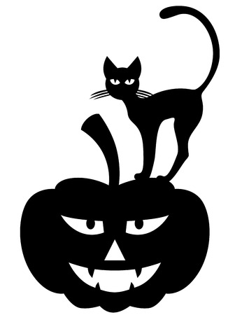 Vector illustrations of Halloween silhouette black cat on pumpkin Çizim