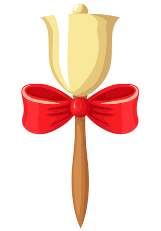 cartoons: Vector illustrations of cartoon school bell on the handle, decorated with a red bow, to celebrate September 1