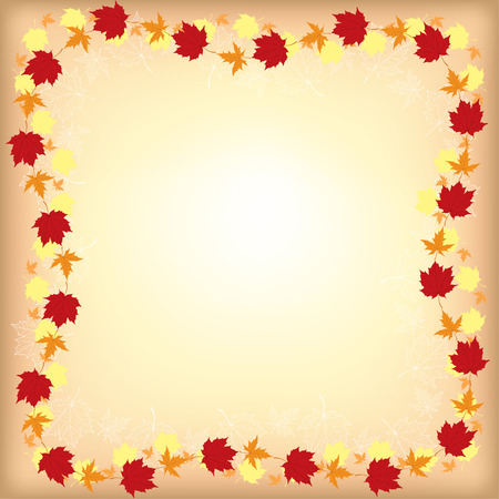 Vector illustrations of greeting autumn border with maple leaves on beige background
