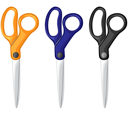 scissors icon: Vector illustrations of cartoon different colors scissors set Illustration