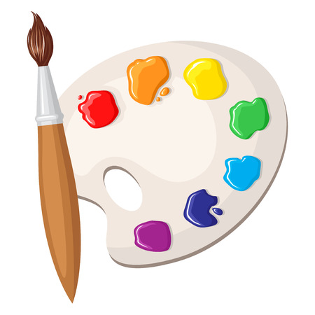 Vector illustrations of cartoon paintbrush and palette of paints seven colors of rainbow