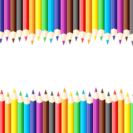 Vector illustrations of background of set of multicolor pencils