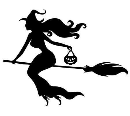 witch on broom: Vector illustrations of silhouette beautiful sexy witch with hat and broom fly Illustration