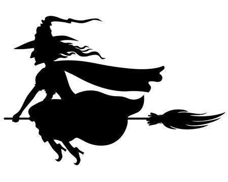 brujas caricatura: Ilustraciones del vector de la silueta de la bruja con sombrero y escoba mosca Vectores